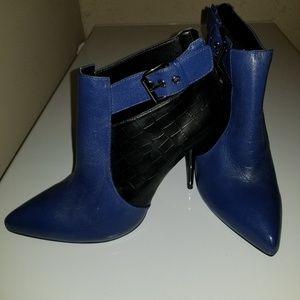 Aldo Shoes - Aldo Black and Blue Leather Heeled Booties